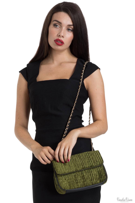 1940s 1950s Vintage Re Voodoo Vixen Velvet Evening Bag With Mirror Green 1930s