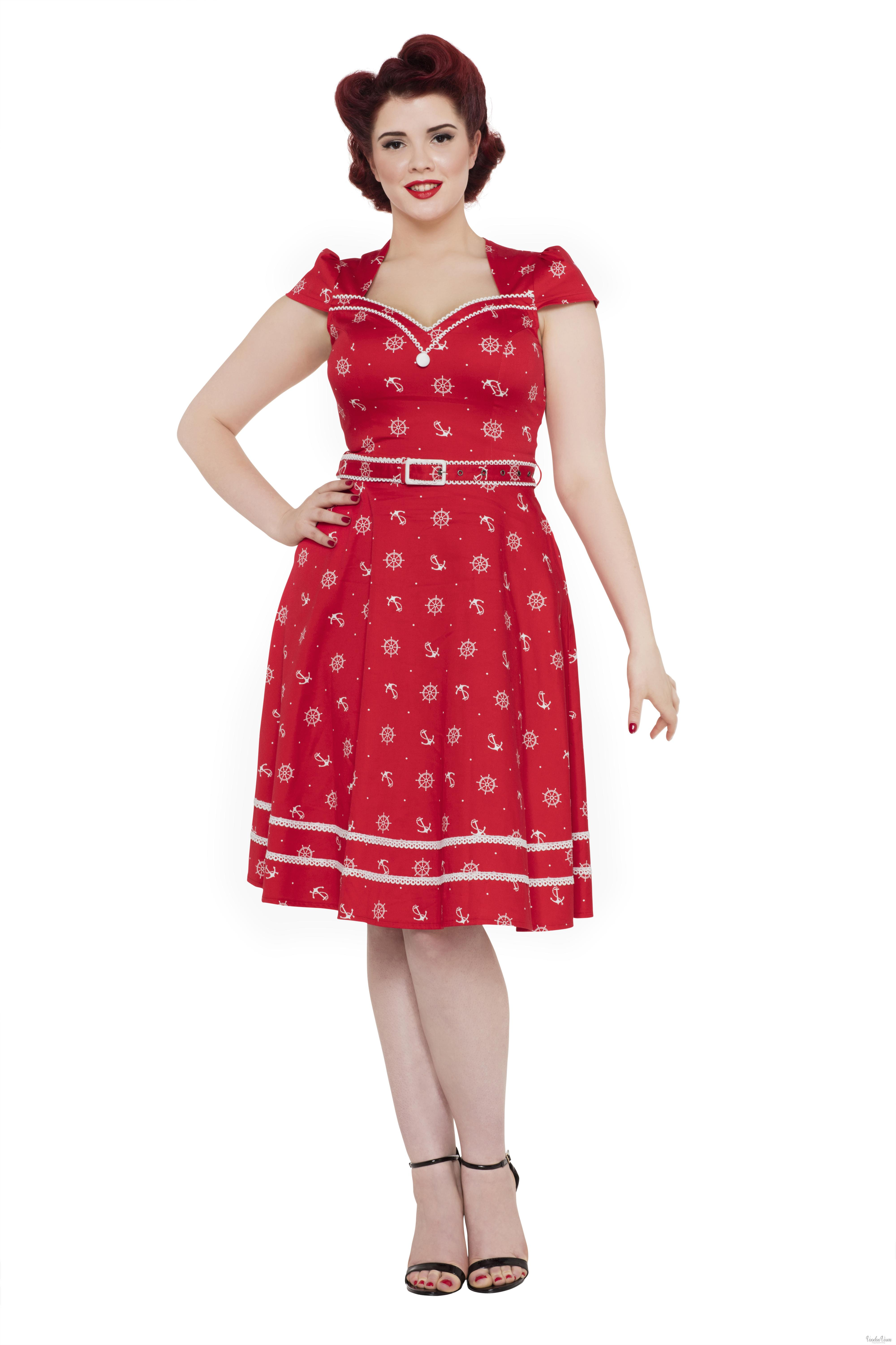 Voodoo Vixen Womens Leslie 50s Nautical Dress  Vintage Style Flared Fit /& Flare
