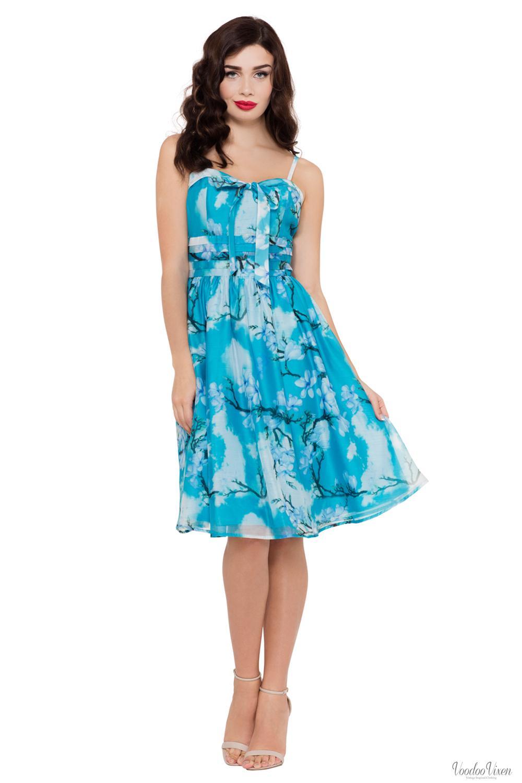 Voodoo Vixen Womens Clara Blue Dress with Bow Tie   A-Line Dress