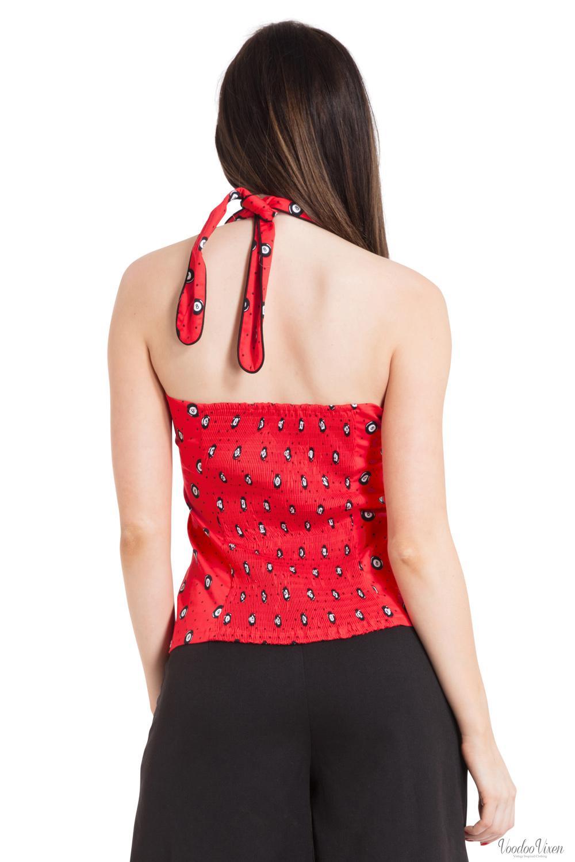 Voodoo Vixen Womens Carrie Eight-Ball Halter Neck Top   Red halter-neck top with