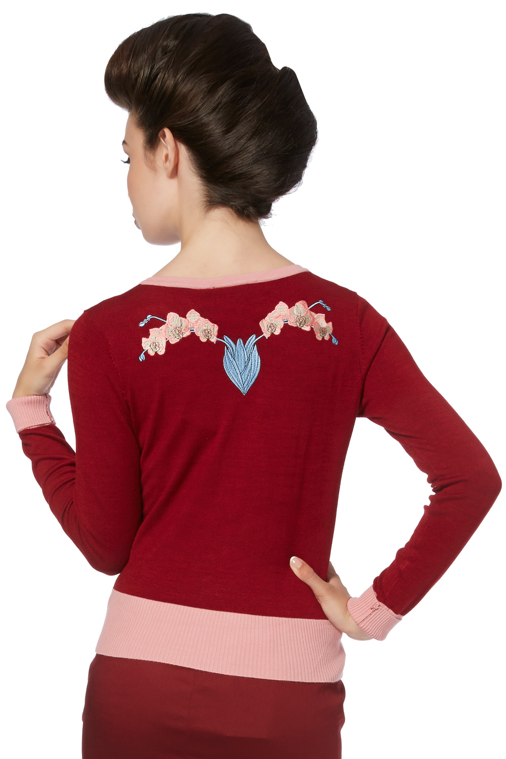 Ada Red & Pink Orchid Cardigan