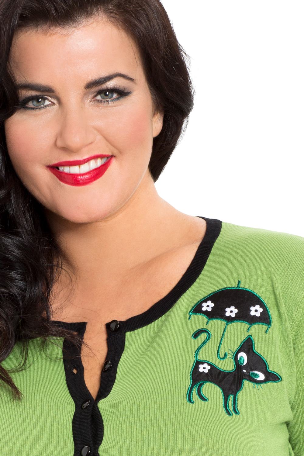 Clarissa Plus Size Green Kitty Cardigan