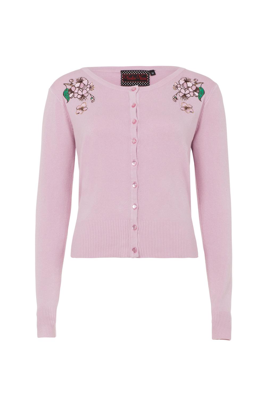 Rosamund Pink Floral Embroided Cardigan