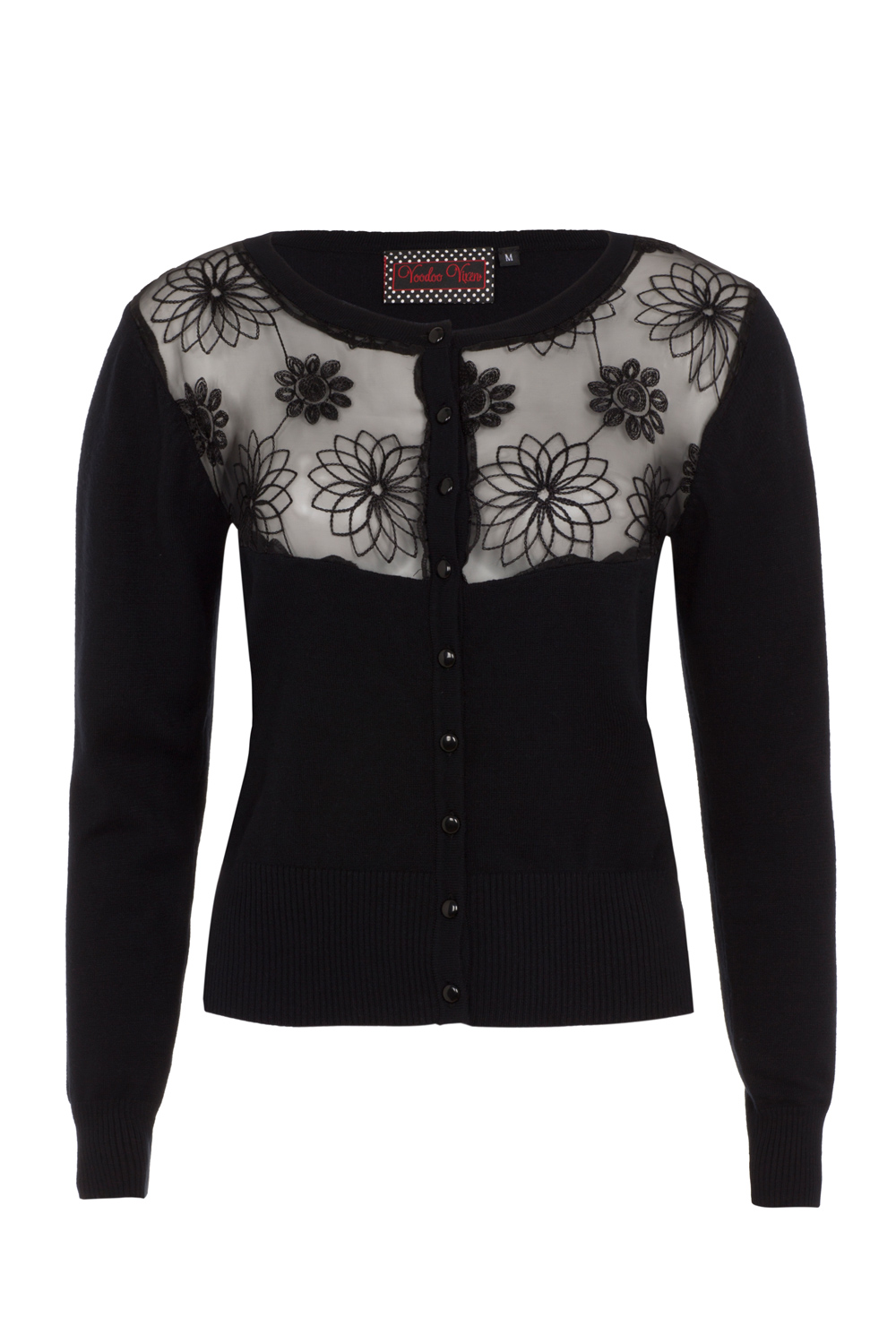 Katie Black Floral Embroided Cardigan