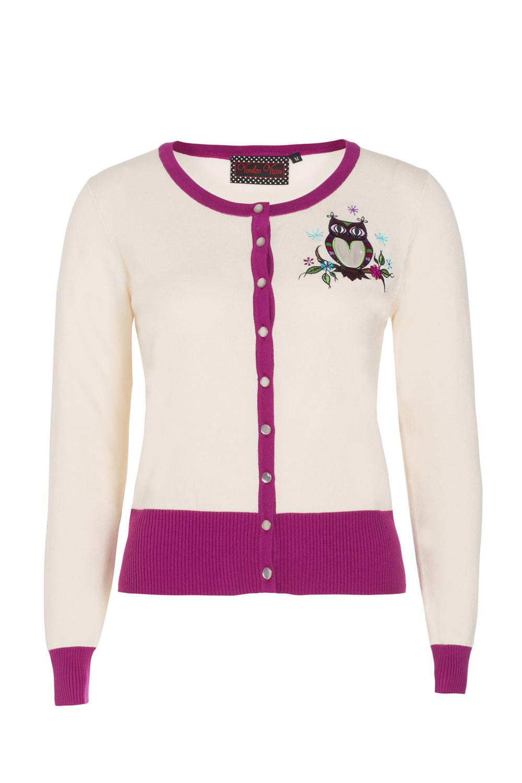 Kylie Cream Owl Embroidery Cardigan