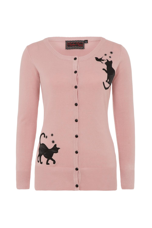 Elise Pink Cat and Bird Cardigan