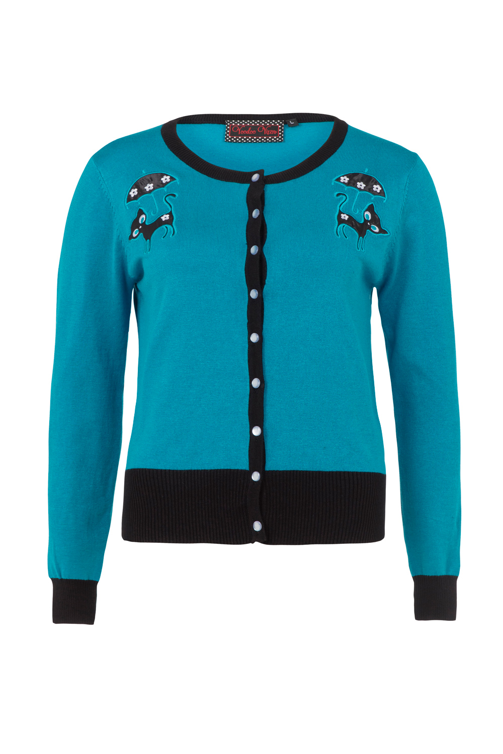 Clarissa Blue Retro Cat Plus Size Cardigan