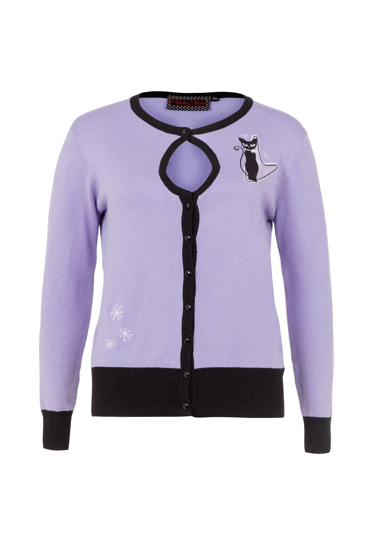 Isabella Lavender Plus Size Retro Kitty Cardigan