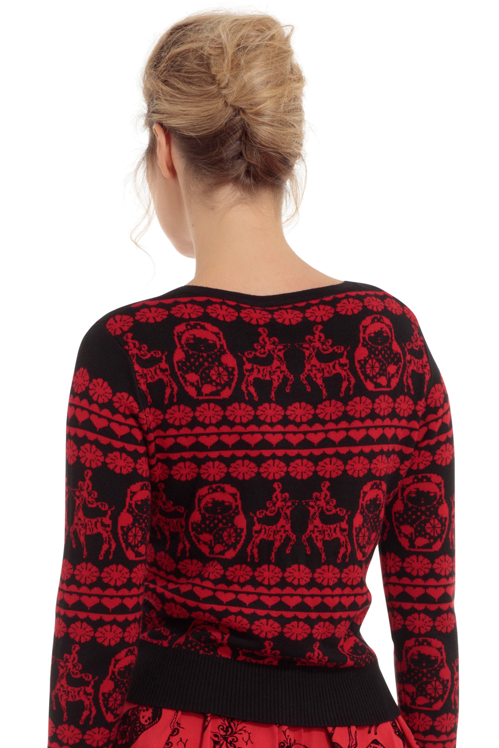 Tess Nesting Doll and Reindeer Cardigan