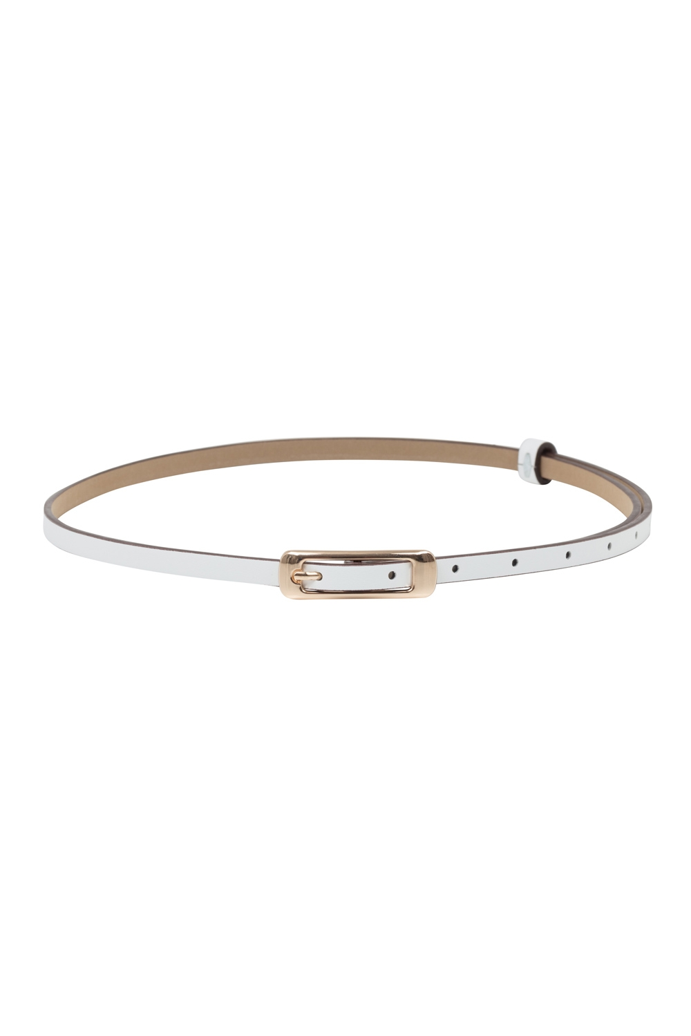 Slim Belt With Gold Buckle White