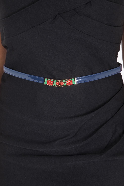 Navy Rose Adjustable Waist Belt