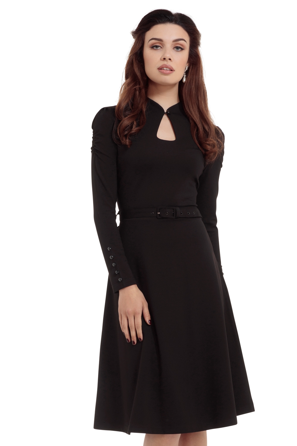 Dita 50s Flared Black Dress With Cut-out