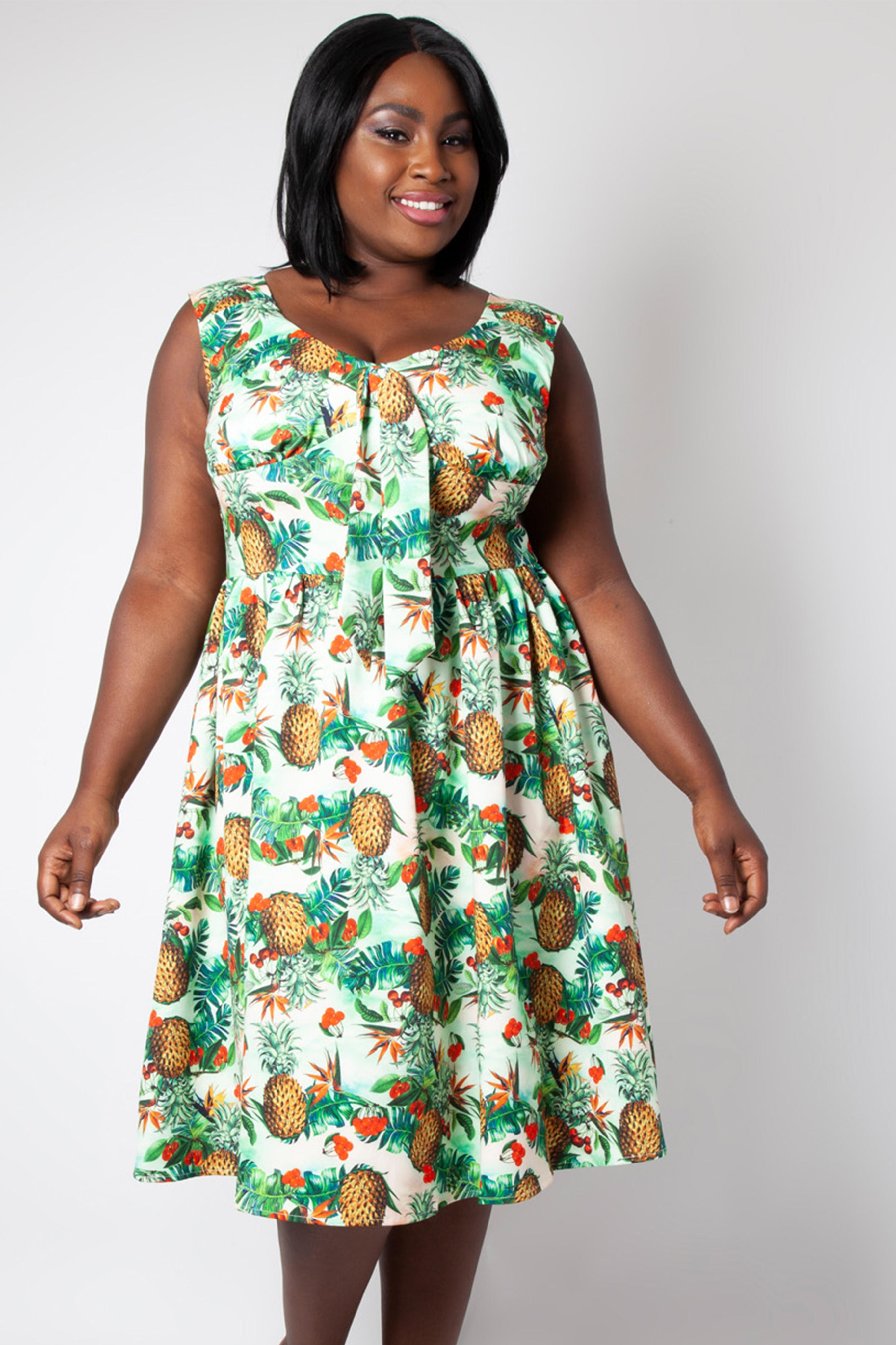 Dana Tropical Cherry Print Plus Size Dress