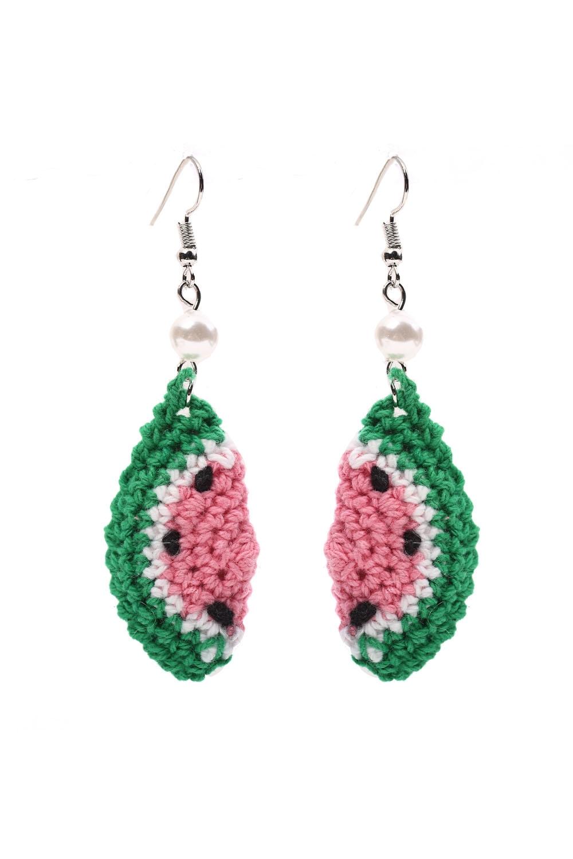 Pastel Watermelon Crochet Earrings
