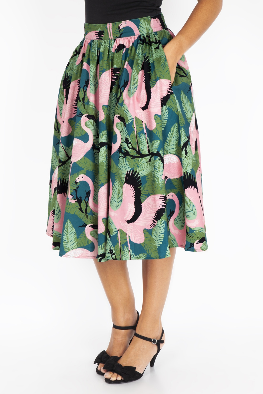 Emma Flamingo Print flare skirt