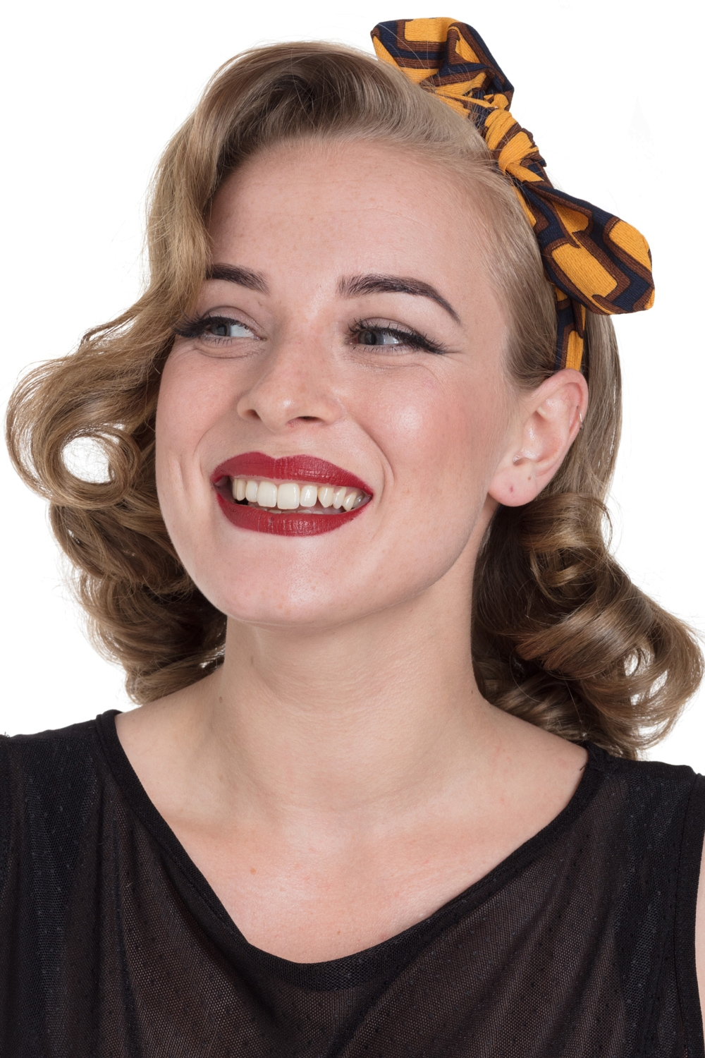 Retro Geometric Headband Mustard