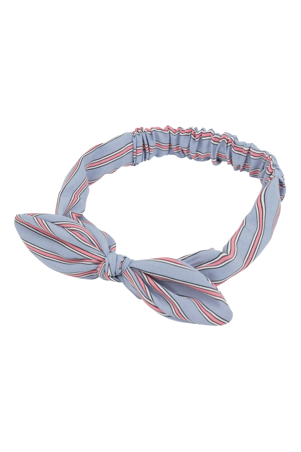 Striped Bow Headband Grey