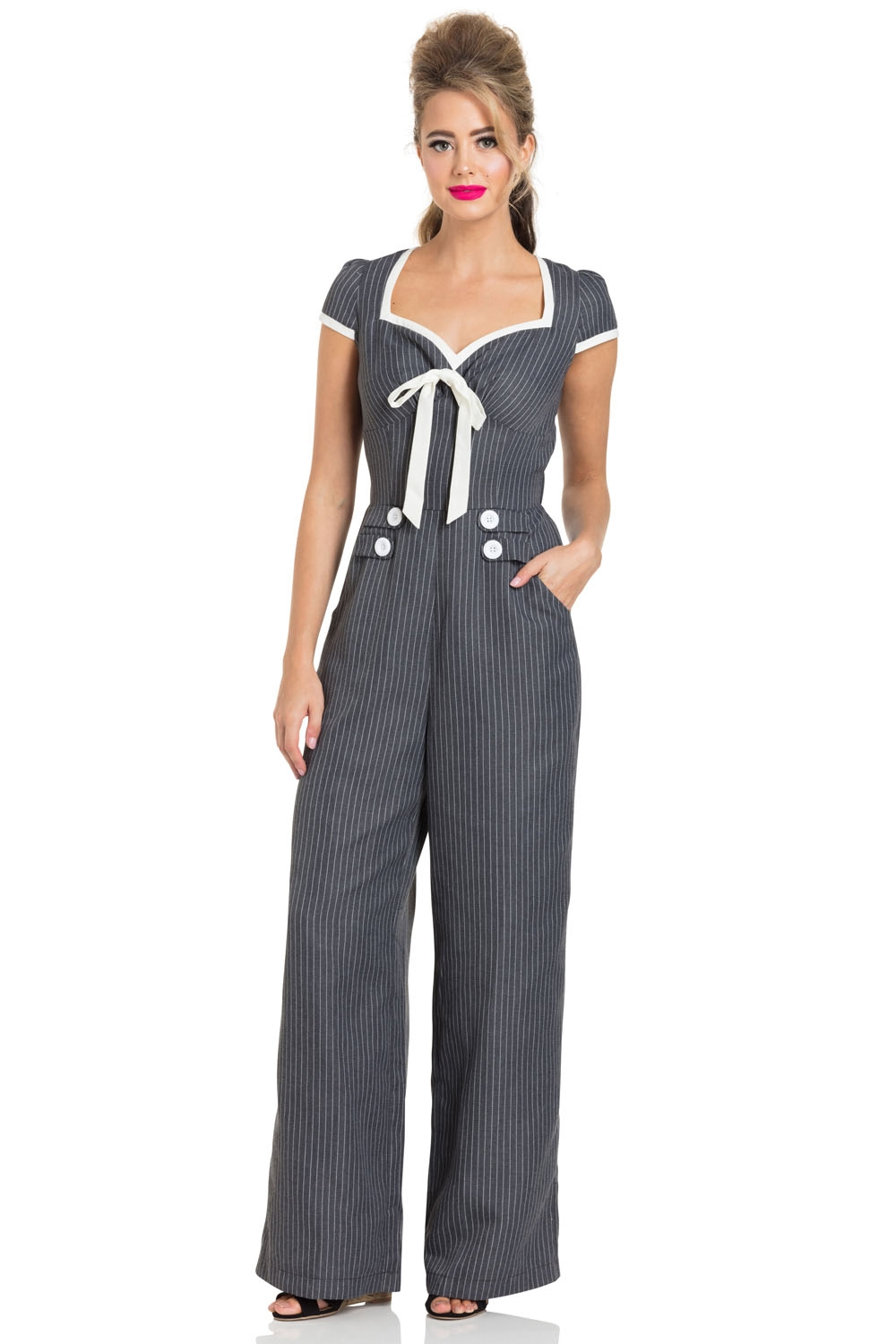 Leanne Grey Striped Jumpsuit
