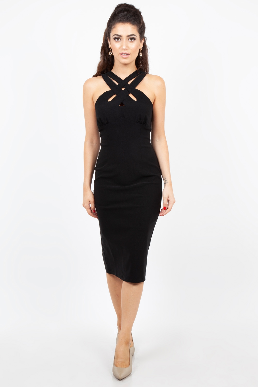 Lillian Black Cross Neck Wiggle Dress
