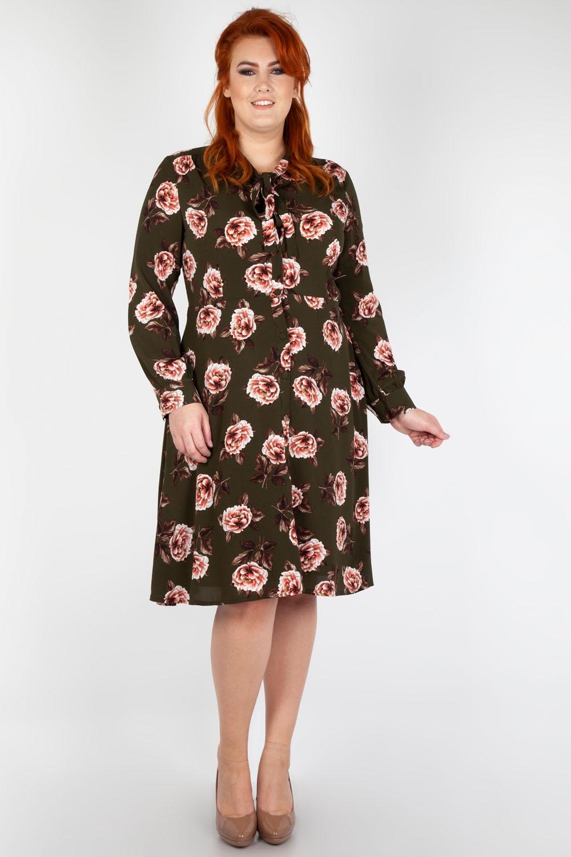 ba2ef8be8edc Nora Floral 40 s Style Plus Size Tea Dress