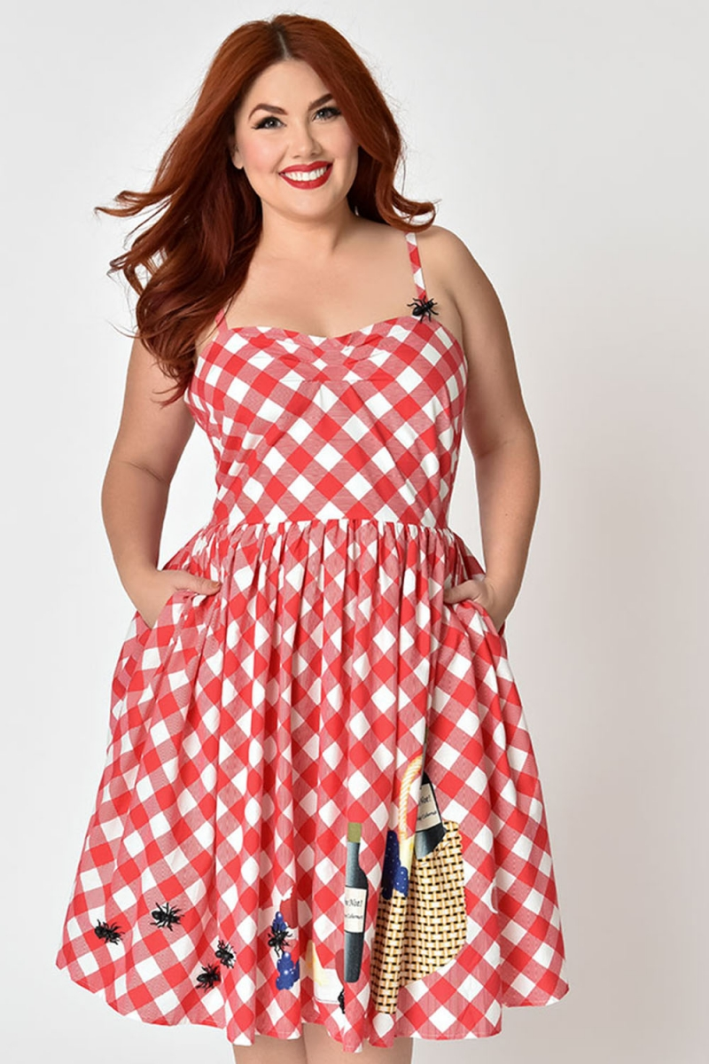 Darcy Plus Size Gingham Dress by Unique Vintage