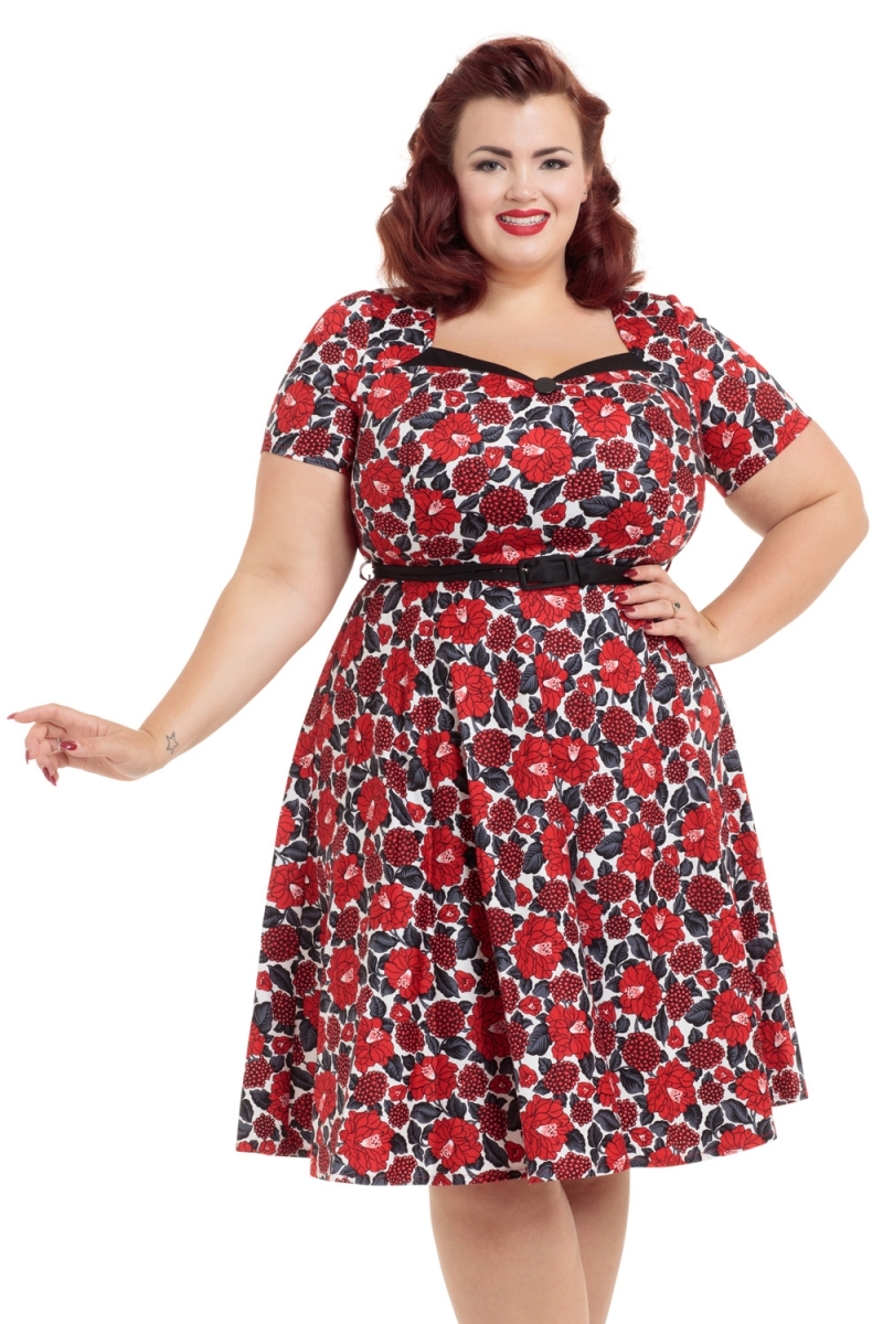 Poppy Red Floral Skater Plus Size Dress