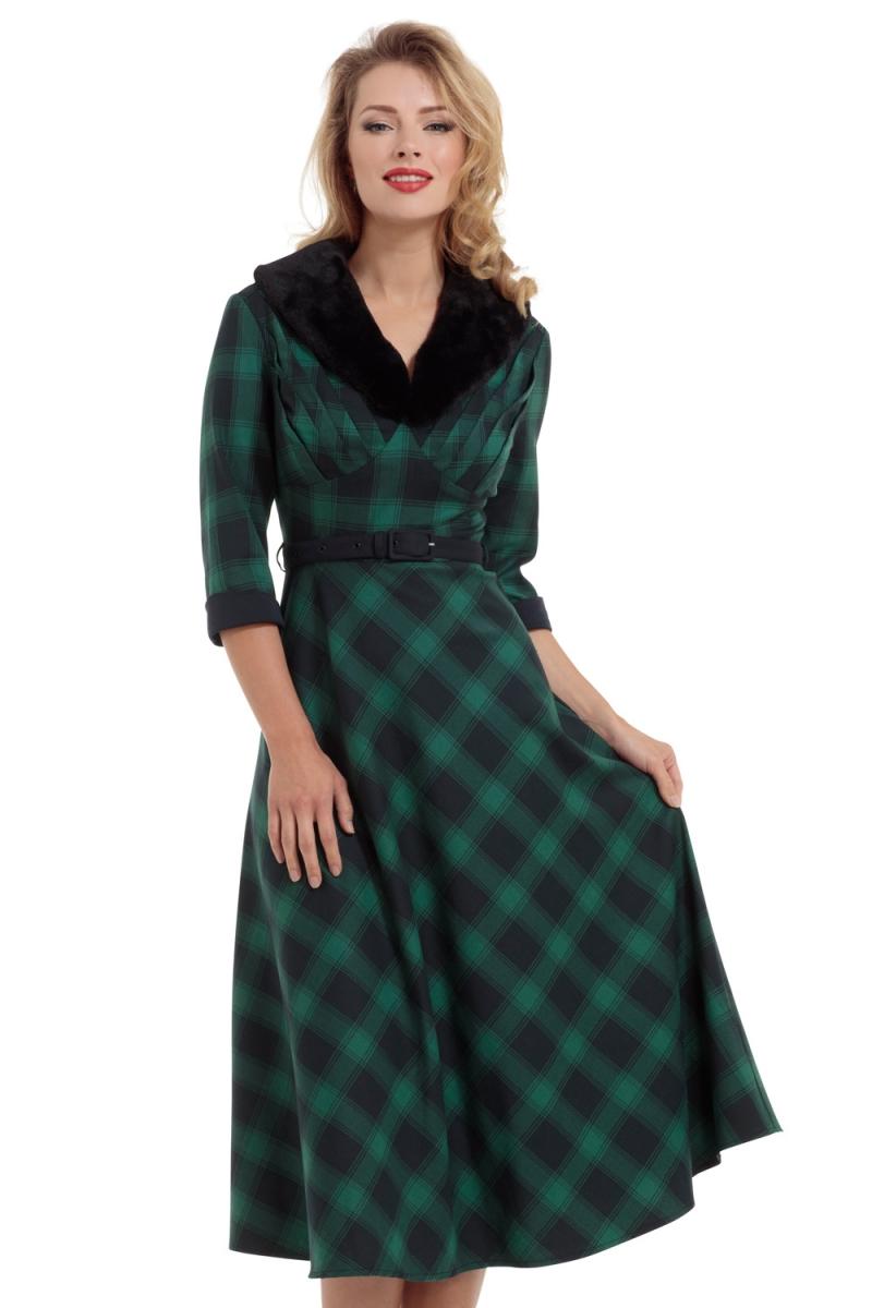 Voodoo Vixen Vintage Inspired Lola Tartan Flare Dress With