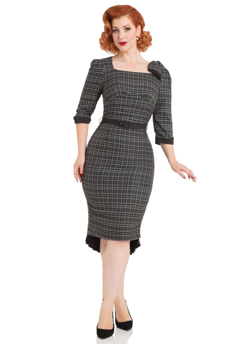 Voodoo Vixen Vintage Inspired Khloe Grey 40s Style: Voodoo Vixen Vintage Inspired Veronica Tartan Pencil Dress