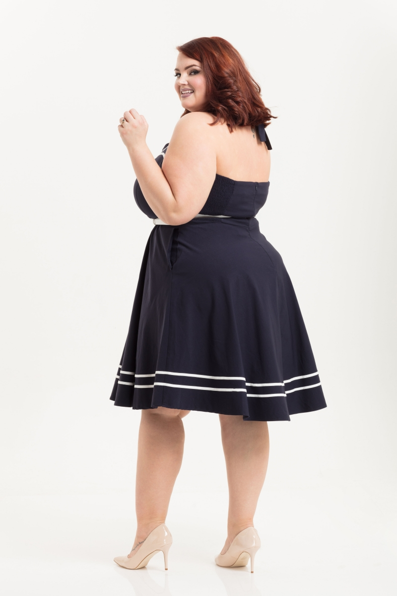 Charlotte Nautical Plus Size Halter Neck Dress | Vintage Inspired ...
