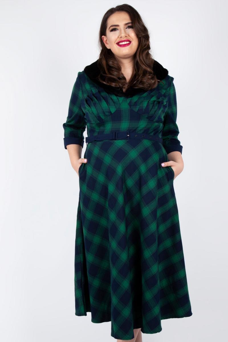 Voodoo Vixen Vintage Inspired Lola Tartan Flare Dress Plus ...