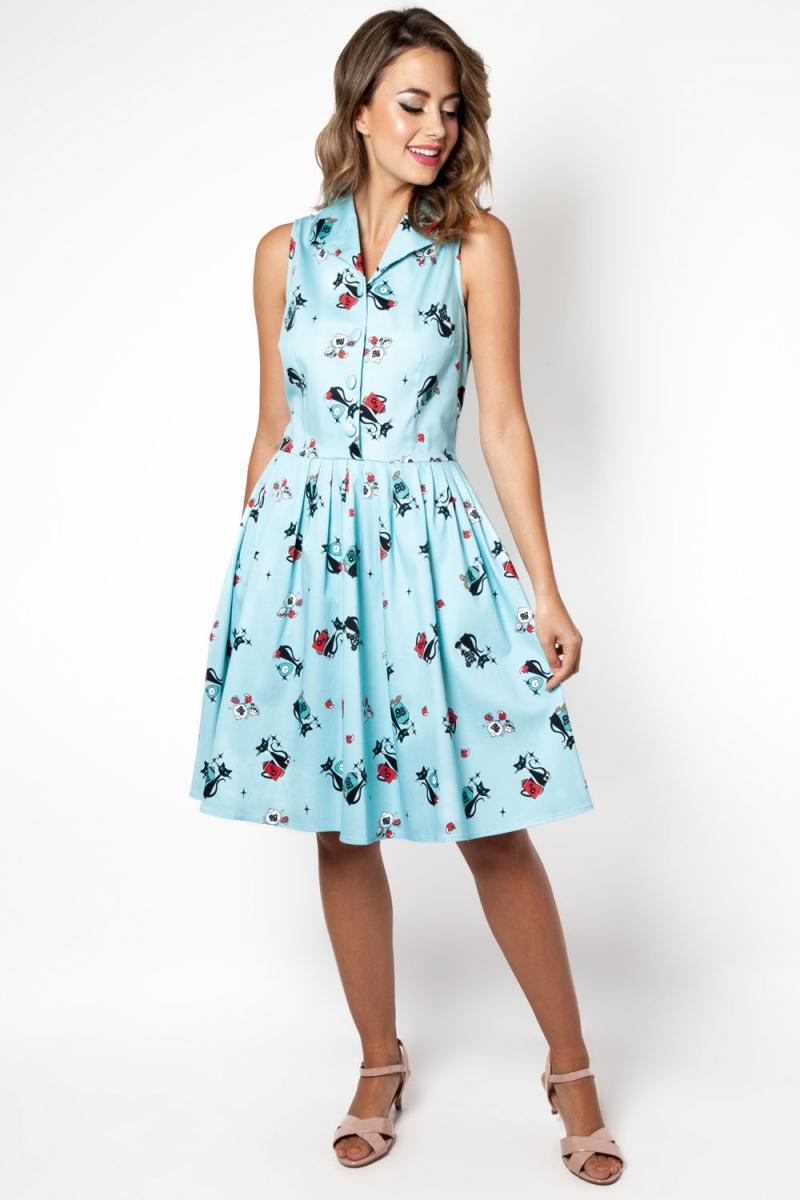 a45bd38e018 Betty Kitchen Kitty Print Shirt Dress | Vintage Inspired Fashion ...