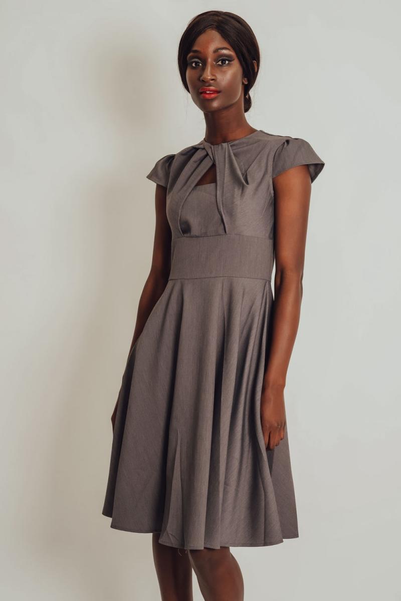 Voodoo Vixen Vintage Inspired Khloe Grey 40s Style: Geneva A-line Cut-out Dress