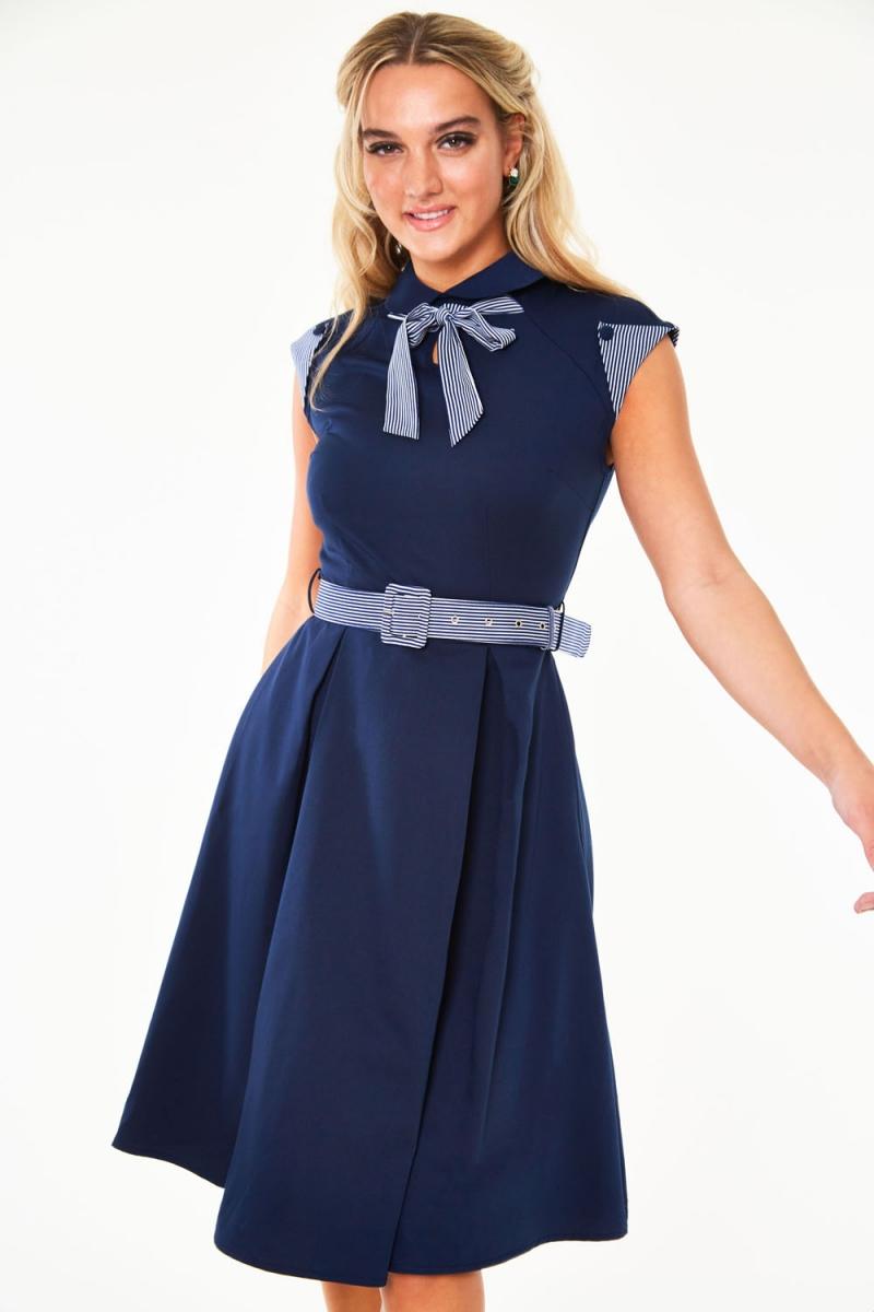 Voodoo Vixen Lilly Blue Off Centre Collar Dress 1930s 1950s Vintage Retr 1940s