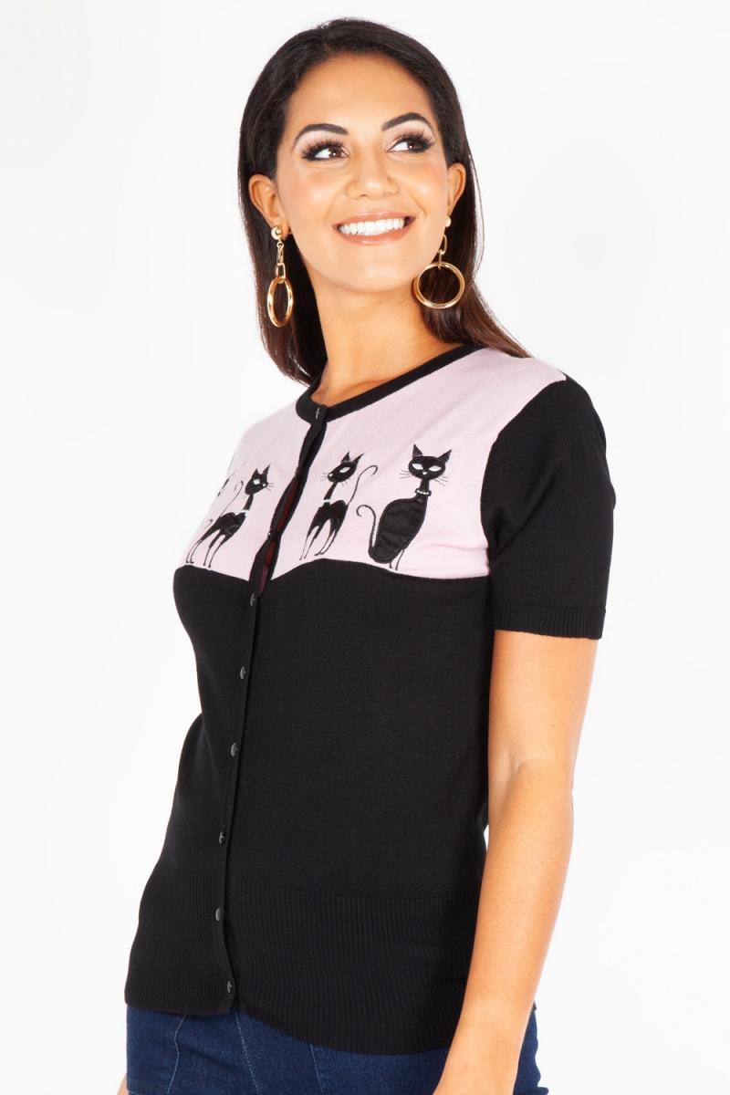 Voodoo Vixen Ivy Retro Kitten Cat Vintage Womens Pink//Black Cardigan//Sweater