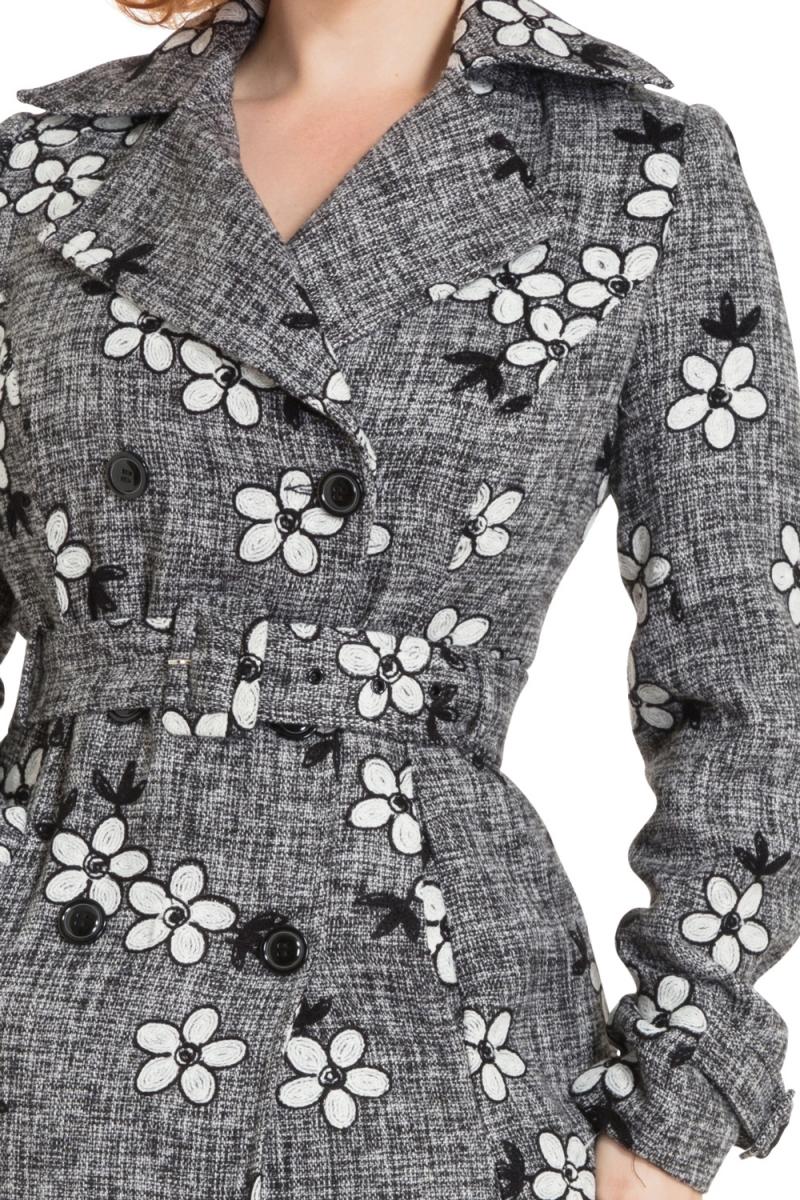 Voodoo Vixen Vintage Inspired Khloe Grey 40s Style: Voodoo Vixen Womens New Marjorie Grey Floral Jacket Coat