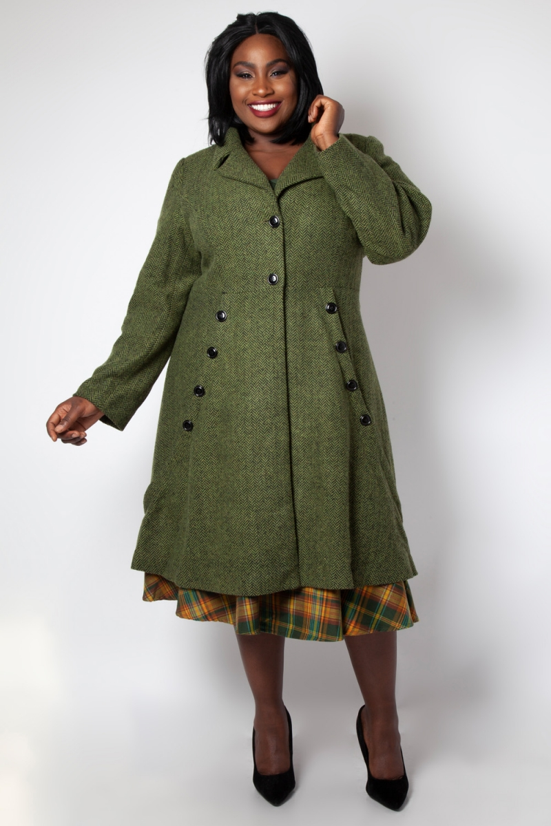 Voodoo Vixen Vintage Vixen courbe Nicole vert 40 S Style Manteau 8 10 12 14 16 18 20