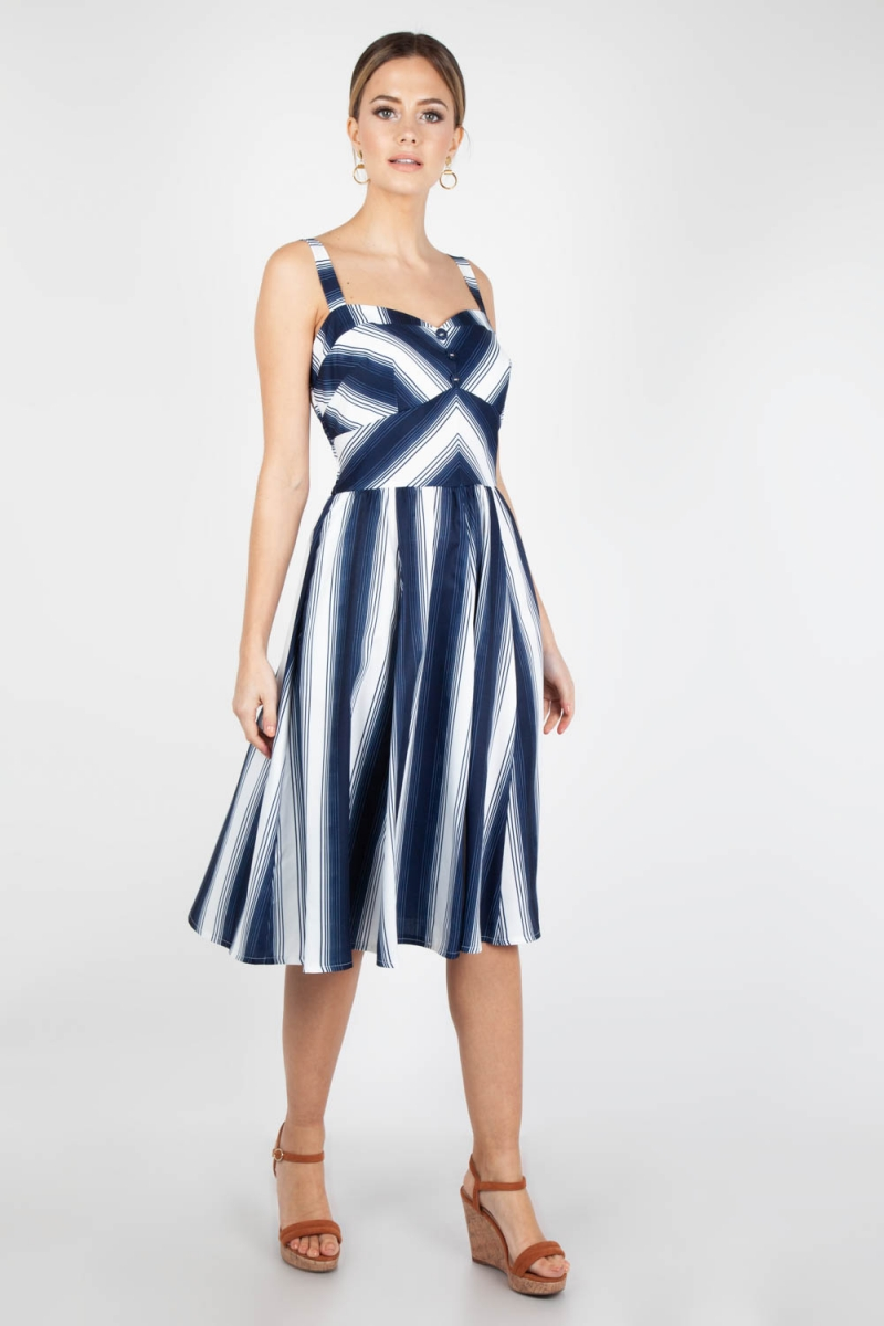 Art Décor: Voodoo Vixen Vintage Inspired Kayla Nautical Striped Dress