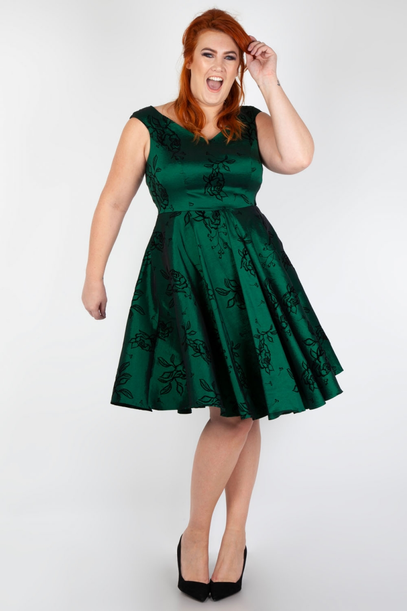 Voodoo Vixen Vintage Inspired Lily Green Taffeta Flared Plus ...