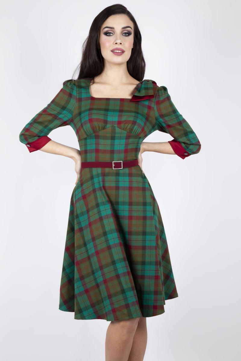 Lisle Forest Tartan Flare Dress | Vintage Inspired Fashion