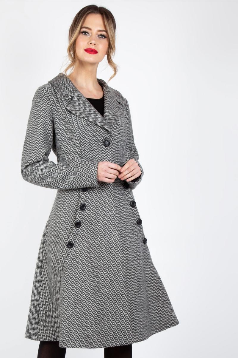 Voodoo Vixen Vintage Inspired Khloe Grey 40s Style: Macie Herringbone Coat In Grey