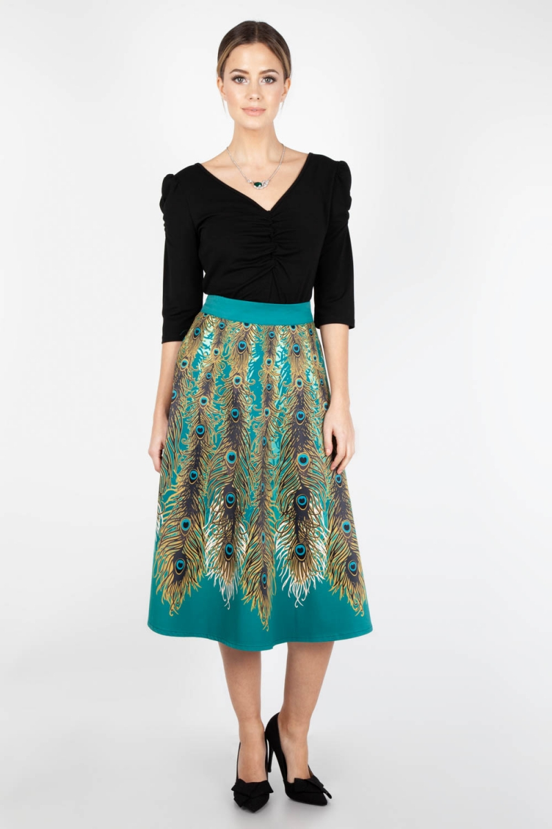 Voodoo Vixen Sarah Heavyweight Leopard Print Circle Skirt 1930s 1950s Vi 1940s