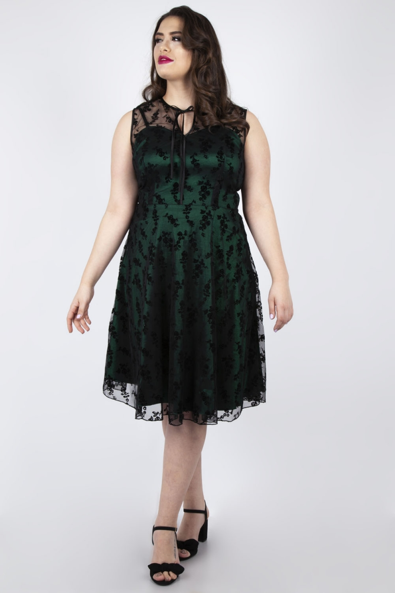 Voodoo Vixen Vintage Inspired Penny Plus Size Green Lace ...