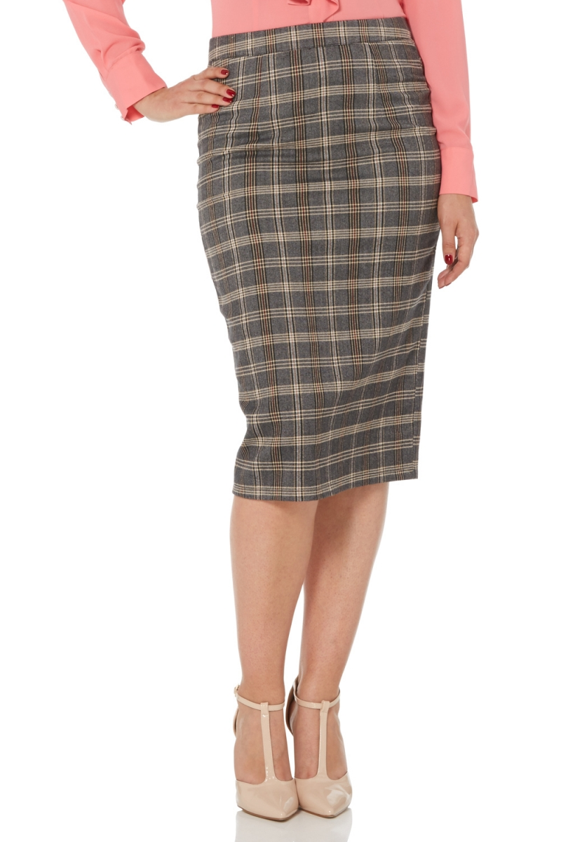 Womens Voodoo Vixen Pia Plaid Pencil Skirt Grey L