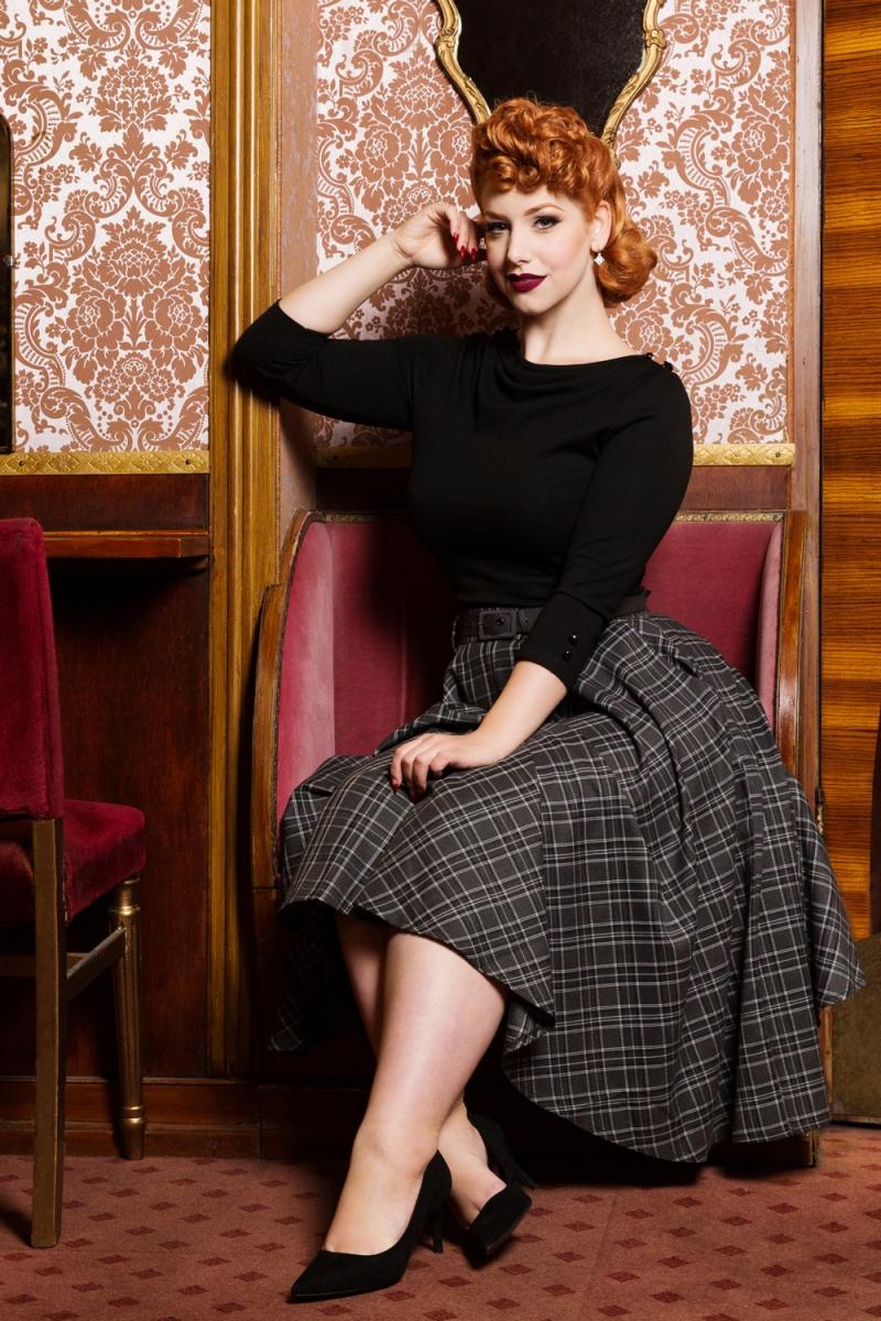 Voodoo Vixen Vintage Inspired Khloe Grey 40s Style: Bridget Tartan Flare Skirt