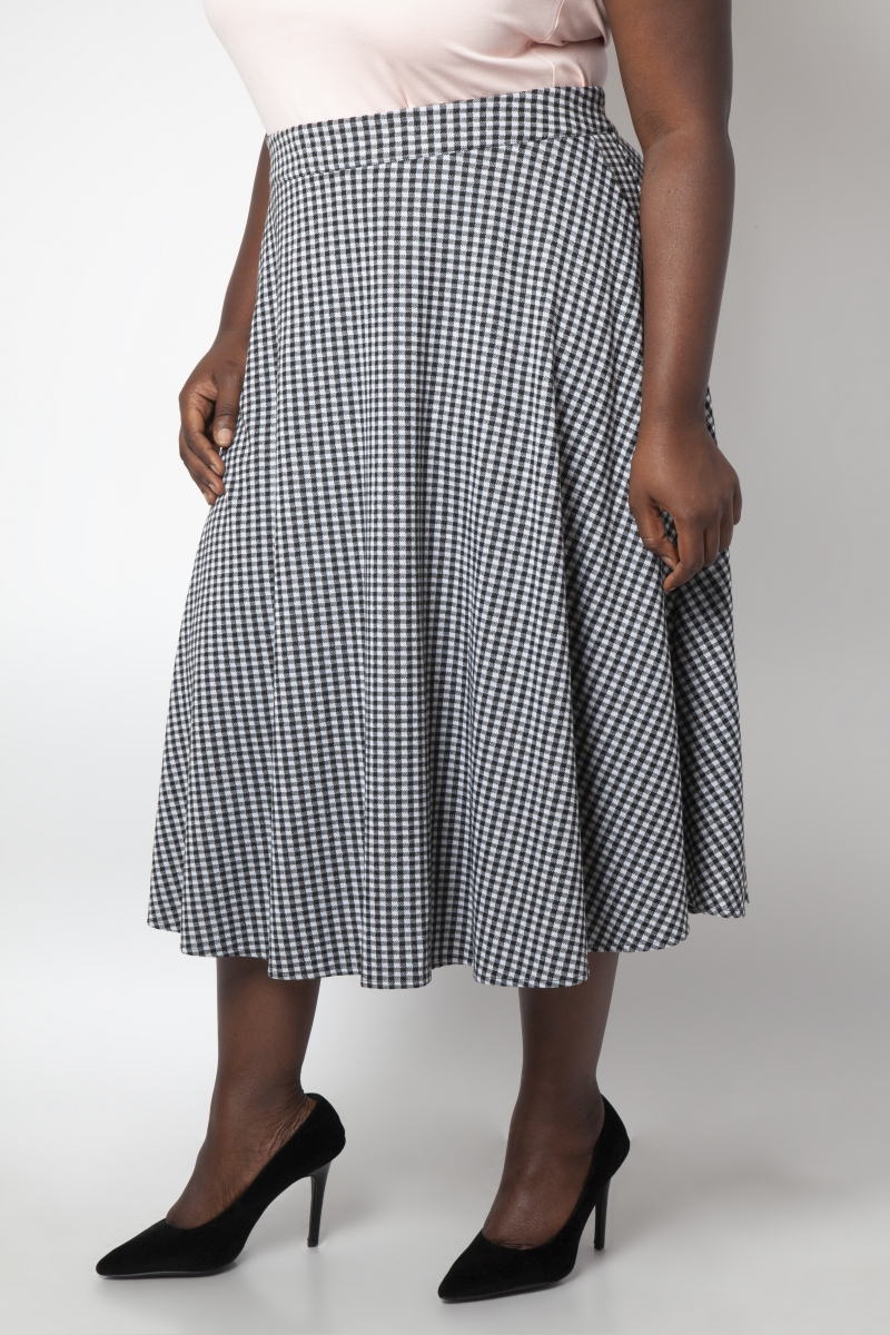 Voodoo Vixen Vintage Inspired Khloe Grey 40s Style: Curve Arianna Houndstooth Flared Skirt