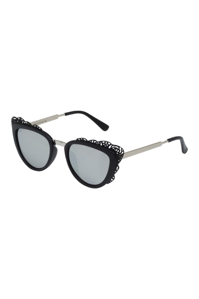 Decorative Floral Trim Glasses Black