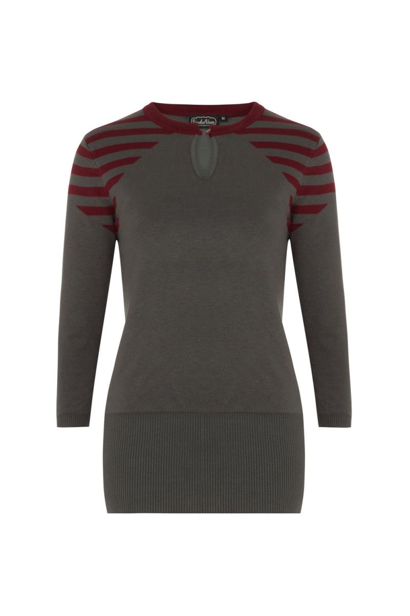 Voodoo Vixen Vintage Inspired Khloe Grey 40s Style: Voodoo Vixen Vintage Inspired Caroline Striped Sweater