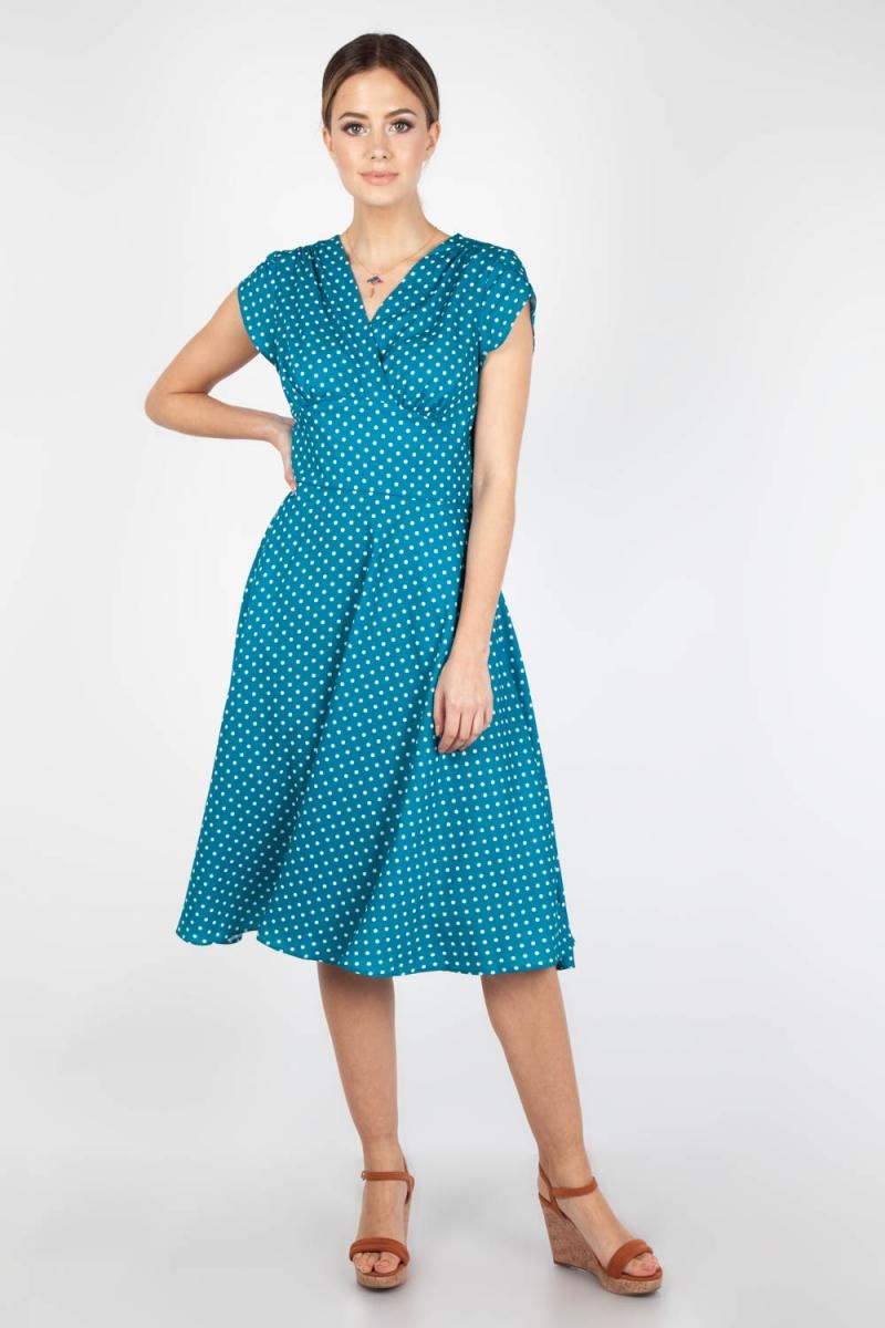 Vintage Polka Dot 1940 S 50 S Tea Dress Green: Voodoo Vixen Vintage Inspired Tabby Polka Dot Tea Dress