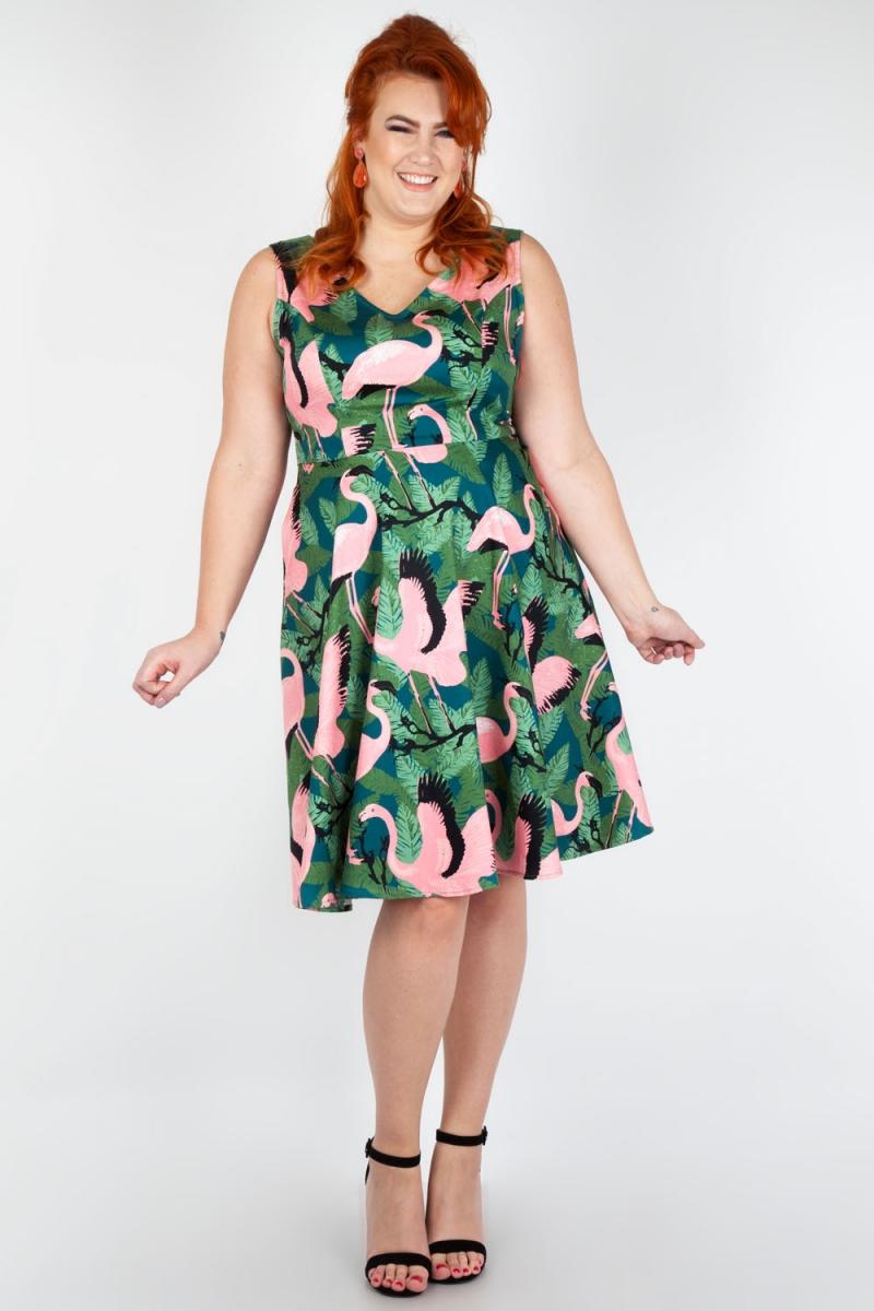 bb9f9e385587 Vixen Curve Fifi Flamingo Flared Dress | Vintage Inspired Fashion ...
