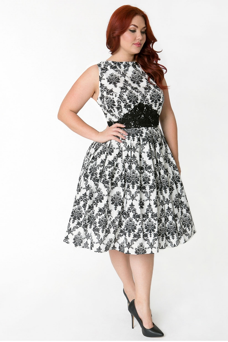 Voodoo Vixen Vintage Inspired Bella Plus Size Damask Dress ...